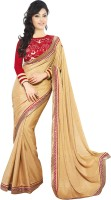 Welcome Fashion Embroidered Bollywood Handloom Synthetic Crepe Saree(Beige)