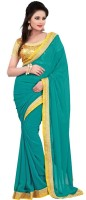 Nairiti Fashions Solid Bollywood Georgette Saree(Green)