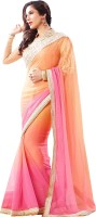 Darkroom Self Design Bollywood Crepe Saree(Pink)