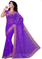Saree Swarg Embroidered Bollywood Georgette Saree(Purple)