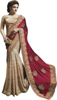 Nairiti Fashions Self Design Fashion Georgette, Silk, Net Saree(Red, Beige)