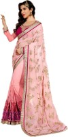 Shoppershopee Embroidered Fashion Georgette Saree(Pink)