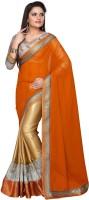 Dancing Girl Embroidered Bollywood Georgette Saree(Orange, Beige)