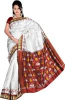 Roopkala Silks Woven Pochampally Handloom Pure Silk Saree(White)