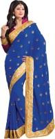 M.S.Retail Self Design Fashion Satin Saree(Dark Blue, Gold)