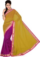 Saree Swarg Solid, Floral Print Bollywood Art Silk, Chiffon Saree(Pink, Yellow)