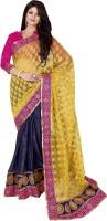 Admyrin Self Design Fashion Cotton, Jacquard, Georgette Saree(Yellow, Blue)
