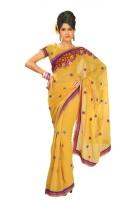 Chirag Sarees Self Design Fashion Poly Crepe Saree(Yellow)