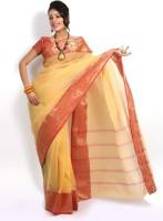Purabi Woven Tant Handloom Cotton Saree(White)