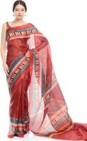 SAS Creations Printed Maheshwari Cotton Blend, Polycotton Saree(Red)