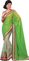 M.S.Retail Printed Fashion Brasso, Chiffon Saree(Light Green, Grey)