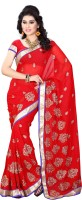 Diva Fashion-Surat Embroidered Bollywood Handloom Georgette Saree(Red)