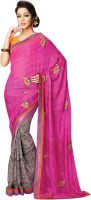 Vibes Embroidered Fashion Synthetic Georgette Saree(Pink)