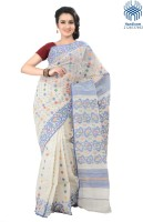 Tantuja Solid Jamdani Handloom Cotton Saree(White)