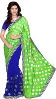 Khoobee Self Design, Embroidered, Embellished Fashion Cotton Blend, Poly Georgette Saree(Green, Blue)