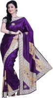 Ambition Embellished Fashion Silk Saree(Purple)