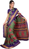 Jiya Self Design, Printed Fashion Chiffon Saree(Multicolor, Purple)