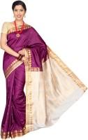Pavechas Solid Banarasi Nylon Saree(Magenta)