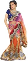 Triveni Self Design Lehenga Saree Net Saree(Multicolor)