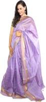 Javuli Woven Madurai Handloom Silk Cotton Blend Saree(Purple)