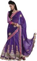 Bahubali Sarees Self Design Lehenga Saree Georgette Saree(Purple)
