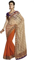 Melluha Embroidered Fashion Net Saree(Gold)