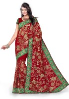 Mrsaree Embroidered Fashion Handloom Georgette Sari(Red)