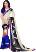 Vastrani Embroidered Fashion Georgette Saree(Yellow, Blue)