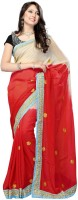 Nairiti Fashions Solid Bollywood Viscose Saree(Red, Beige)
