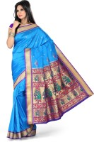 Ishin Solid Fashion Art Silk Saree(Blue)