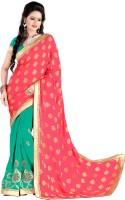 Jiya Self Design, Embellished, Embroidered Fashion Jacquard, Georgette Saree(Pink, Green)