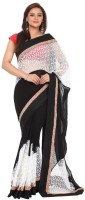 Kataan Bazaar Self Design Banarasi Georgette Saree(Black)