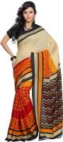 Vibes Printed Fashion Cotton Saree(Orange)