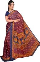 Jiya Self Design, Printed Fashion Chiffon Saree(Multicolor, Blue, Orange, Yellow)