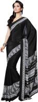 Vibes Printed Fashion Pure Crepe Saree(White, Black)