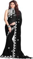 Sourbh Sarees Embroidered Fashion Georgette Saree(Black)