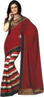Bhavi Striped Fashion Art Silk Saree(Maroon)
