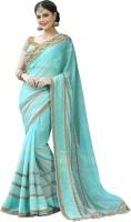 Jiya Self Design, Embroidered, Embellished Fashion Georgette Saree(Light Blue)