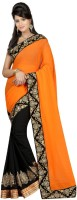 Aksh Fashion Embroidered Bollywood Handloom Georgette Saree(Orange, Black)