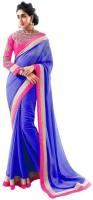 Indrani Solid Fashion Chiffon Saree(Blue)