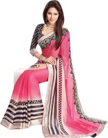 Dancing Girl Printed Bollywood Chiffon Saree(Pink)