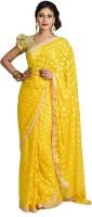 Ethnic Bliss Lifestyles Self Design Phulkari Chiffon Saree(Yellow)