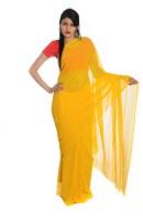 Aaradhya Fashion Striped Leheria Handloom Georgette Saree(Yellow)