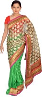 Jagadamba Self Design Fashion Brasso Saree(Multicolor)