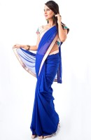 Cenizas Solid Fashion Chiffon Saree(Blue)