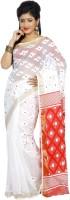 B3Fashion Woven Tant Handloom Silk Cotton Blend Saree(White, Red)