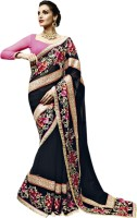 Vishal Solid Fashion Georgette Saree(Black)