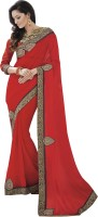 Melluha Embroidered Fashion Georgette Saree(Red)
