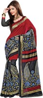 Khoobee Printed Fashion Poly Silk Saree(Maroon)