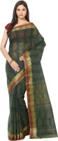 Fostelo Self Design Daily Wear Cotton Saree(Dark Green)
